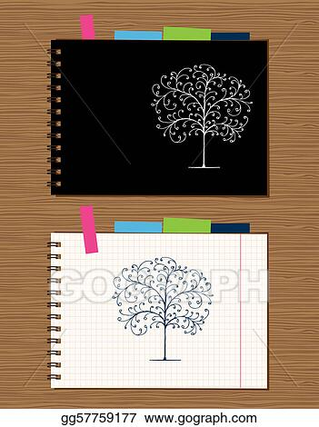 Vector Art Notebook Cover And Page Design On Wooden