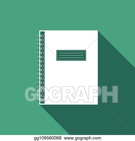 Vector Art Notebook Icon Isolated With Long Shadow Spiral