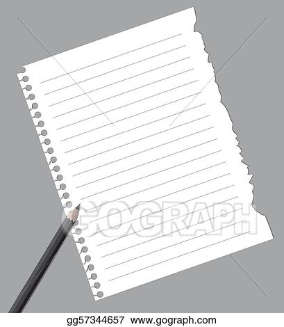 Eps Vector Notebook Paper With Pencil Stock Clipart Illustration