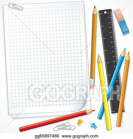 Stock Illustration Notebook Paper With Pencils Illustration