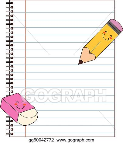 Vector Clipart Notebook Pencil Eraser Vector Illustration
