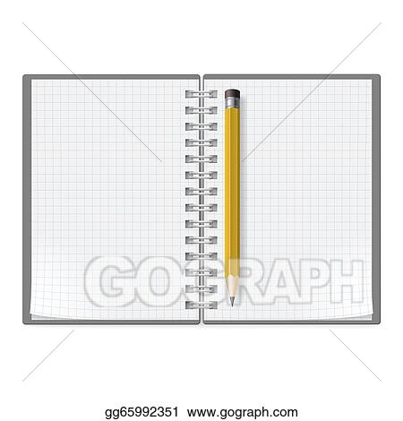 Vector Art Notebook With Pencil Clipart Drawing Gg65992351 Gograph
