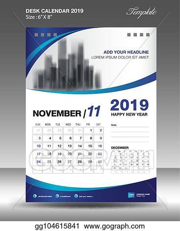 eps vector november desk calendar 2019 template flyer design