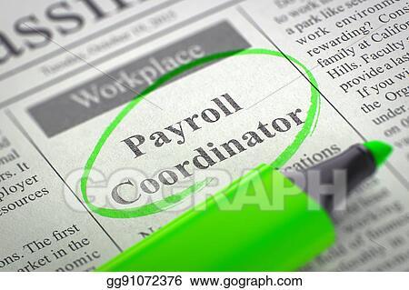 Stock Illustration - Now hiring payroll coordinator. 3d. Clipart ...