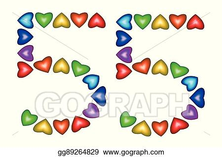 EPS Vector - Number 55, fifty five of colorful hearts on white ... 217d62efdb