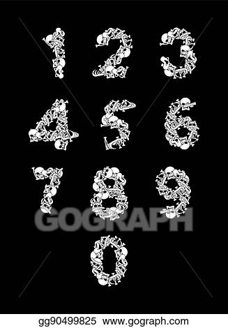 Vector Stock Number From Bones Anatomy Numbers Skull And Spine