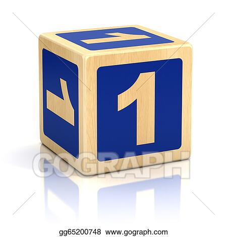 Picture Number One 1 Wooden Blocks Font Stock Photos Gg65200748