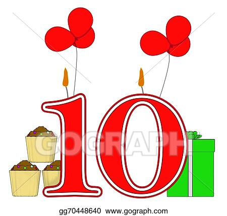 Stock Illustration Number Ten Candles Meaning Birthday