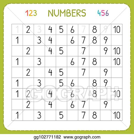 Vector Clipart - Numbers For Kids. Worksheet For Kindergarten And Preschool.  Training To Write And Count Numbers. Exercises For Children. Vector  Illustration Gg102771182 - GoGraph