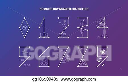 Vector Clipart - Numerology numbers with symbolic meaning design