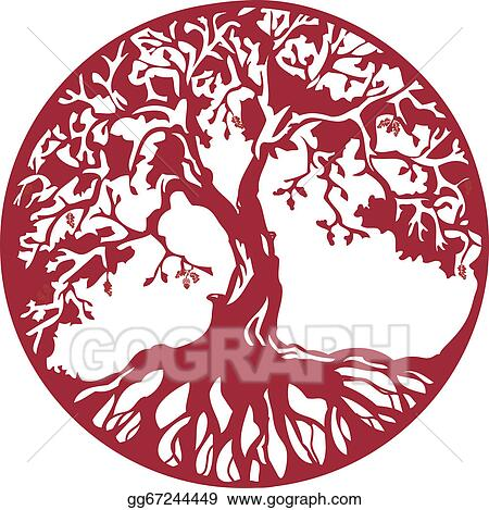 Oak Tree With Roots Clip Art