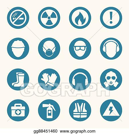 vector art occupational health icons and safety signs eps clipart