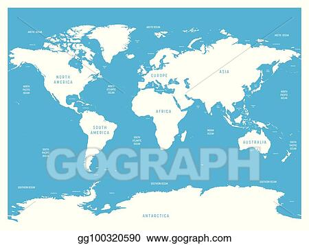 Vector Clipart - Oceanographical map of world with labels of ...