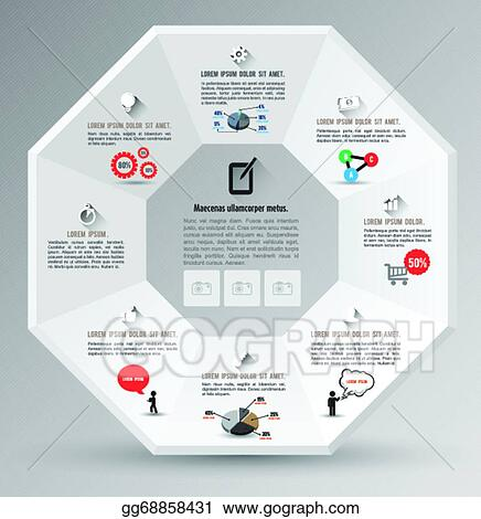 eps vector octagon template with icons stock clipart illustration