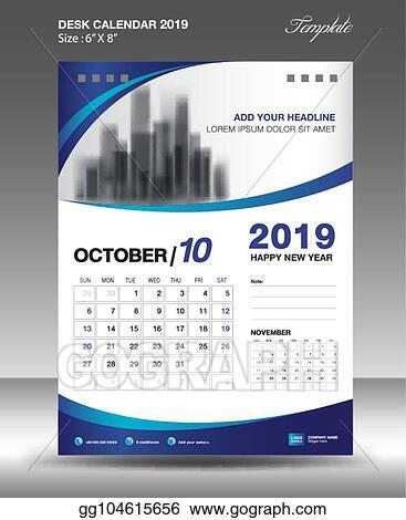 vector stock october desk calendar 2019 template flyer design