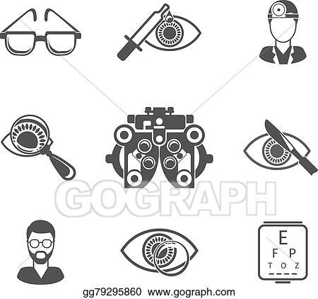 EPS Illustration - Oculist and optometry black icons set