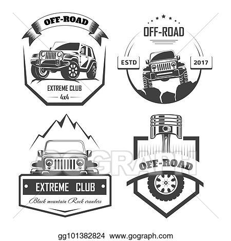 Eps Illustration Off Road 4x4 Extreme Car Club Logo Templates