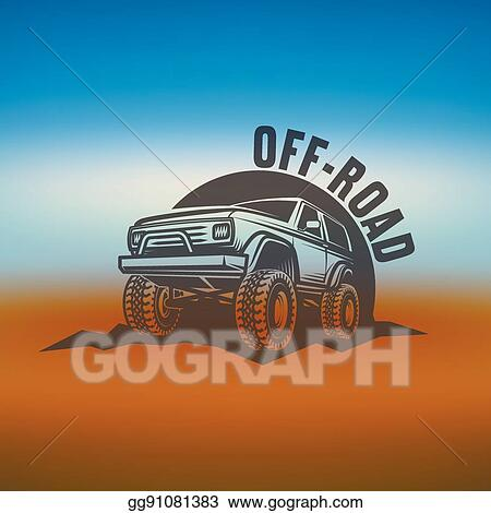 Clip Art Vector Off Road Suv Car Monochrome Labels Emblems
