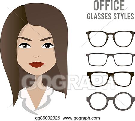 ff6814e62e Office glasses styles vector template with an office woman character design
