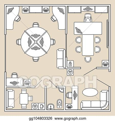 Vector Art Office Interior Top View Architecture Plan Vector