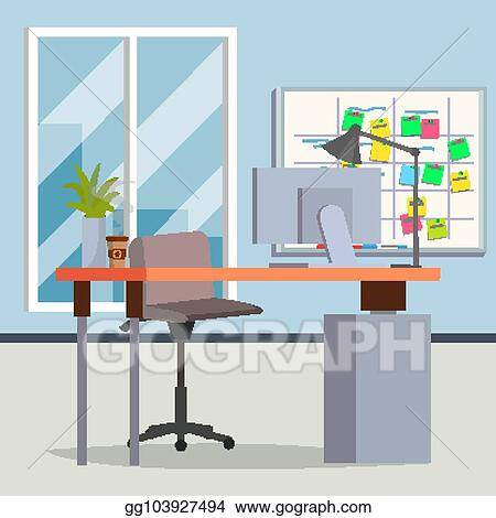 Vector Illustration Office Interior Vector Modern Workplace