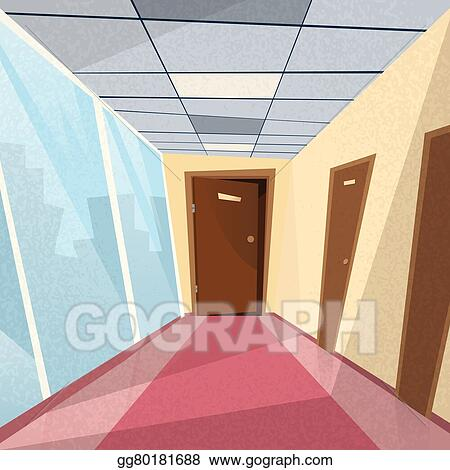 Vector Art - Office room doors corridor hallway. EPS clipart ...