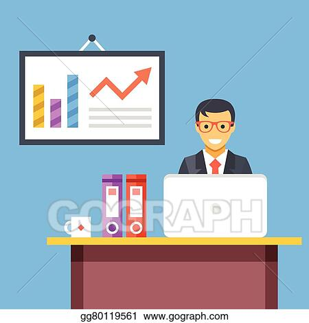 Vector Illustration - Office work. office worker at desk. EPS ...