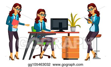 Vector Clipart Office Worker Vector Woman Professional Officer