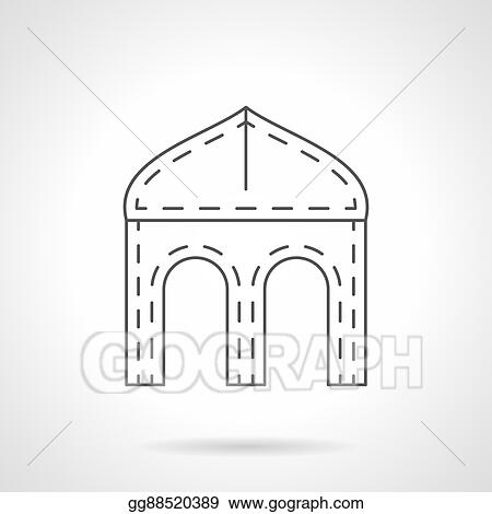 Ogee Four Centered Arch Flat Line Vector Icon