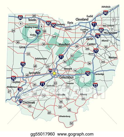 EPS Vector - Ohio state interstate map. Stock Clipart ...