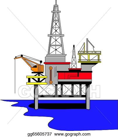 vector clipart oil drilling rig vector illustration gg65605737 rh gograph com oil rig clipart free oil rig clipart free