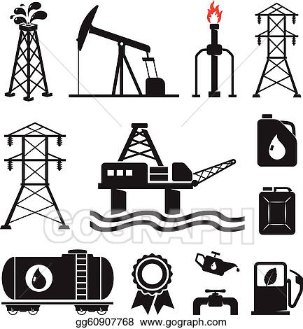 Vector Art Oil Gas Electricity Symbols Clipart Drawing