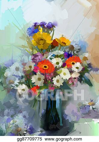 Stock Illustration Oil Painting Still Life A Bouquet Of Flowers In