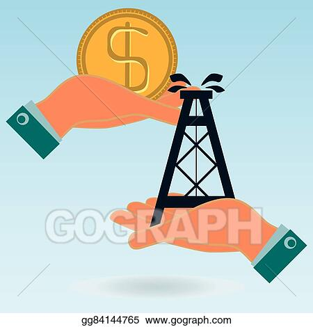 rig art vector art oil rig and dollar gold coin in hands oil market