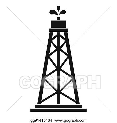 Drawings - Oil rig icon, simple style  Stock Illustration gg91415464
