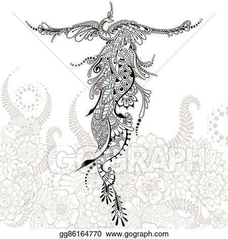 Vecteur Commercial Oiseau Phénix Tatouage Clip Art