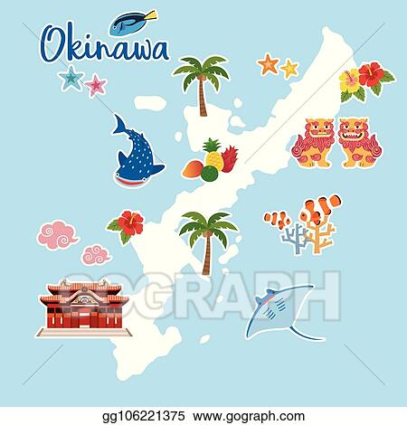 Vector Illustration   Okinawa travel map with local specialties