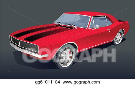 Vector Art Old American Muscle Car Vector Clipart Drawing
