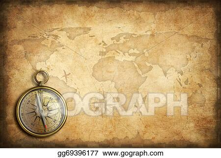 Drawing old brass or golden compass with world map background old brass or golden compass with world map background gumiabroncs Images