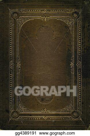 Stock Images Old Brown Leather Texture With Gold Decorative Frame