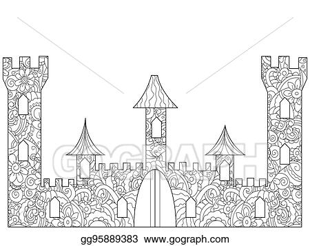 - Vector Art - Old Castle Coloring Book For Adults. EPS Clipart Gg95889383 -  GoGraph