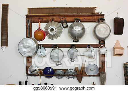 Picture   Old Cooking Utensils. Stock Photos Gg58660591 ...