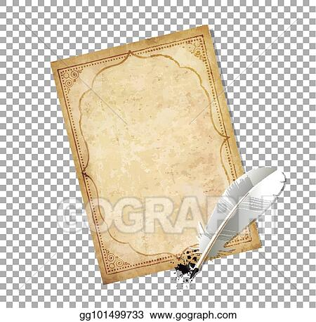 EPS Vector - Old fashioned letter paper with feather pen and ink ...