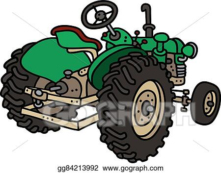 Eps Vector Old Green Tractor Stock Clipart Illustration