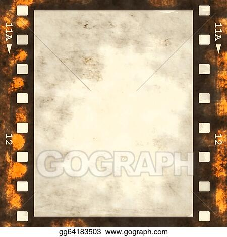 Drawings - Old grunge film strip frame. Stock Illustration ...