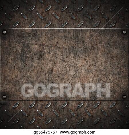 Stock Illustration Old Grungy Diamond Plate Clipart