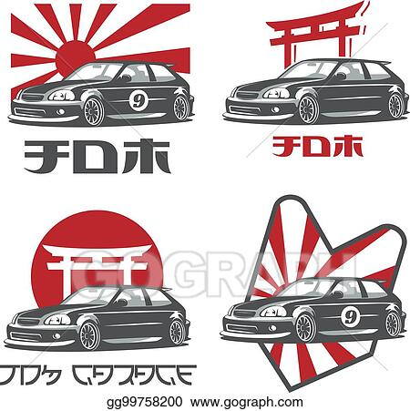 Eps Vector Old Japanese Car Logo Emblems And Badges Isolated On