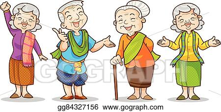 Eps Vector Old Man And Woman Stock Clipart Illustration
