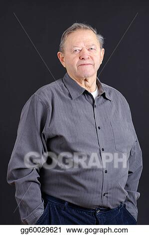 eaf62f65345 Stock Images - Old man hands in pocket over black. Stock Photography ...