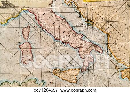 Stock Illustration Old Map Of Italy Sicily Corsica Croatia And
